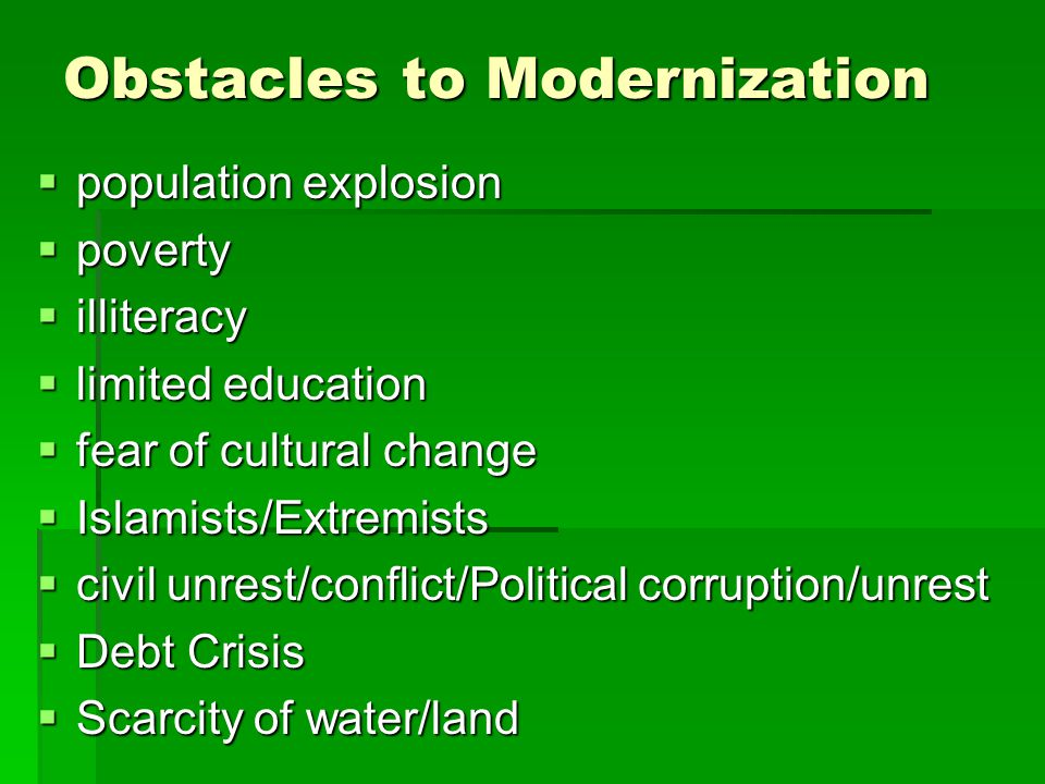 Obstacles to Modernization