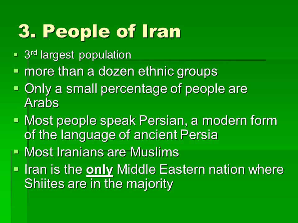 3. People of Iran more than a dozen ethnic groups
