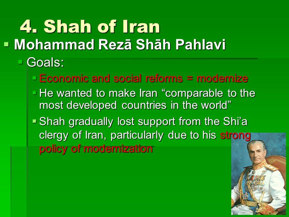 4. Shah of Iran Mohammad Rezā Shāh Pahlavi Goals: