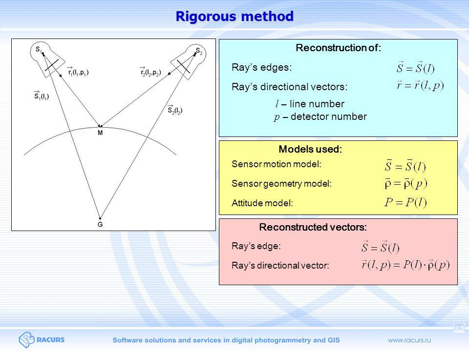 Rigorous method l – line number Reconstruction of: Ray's edges: