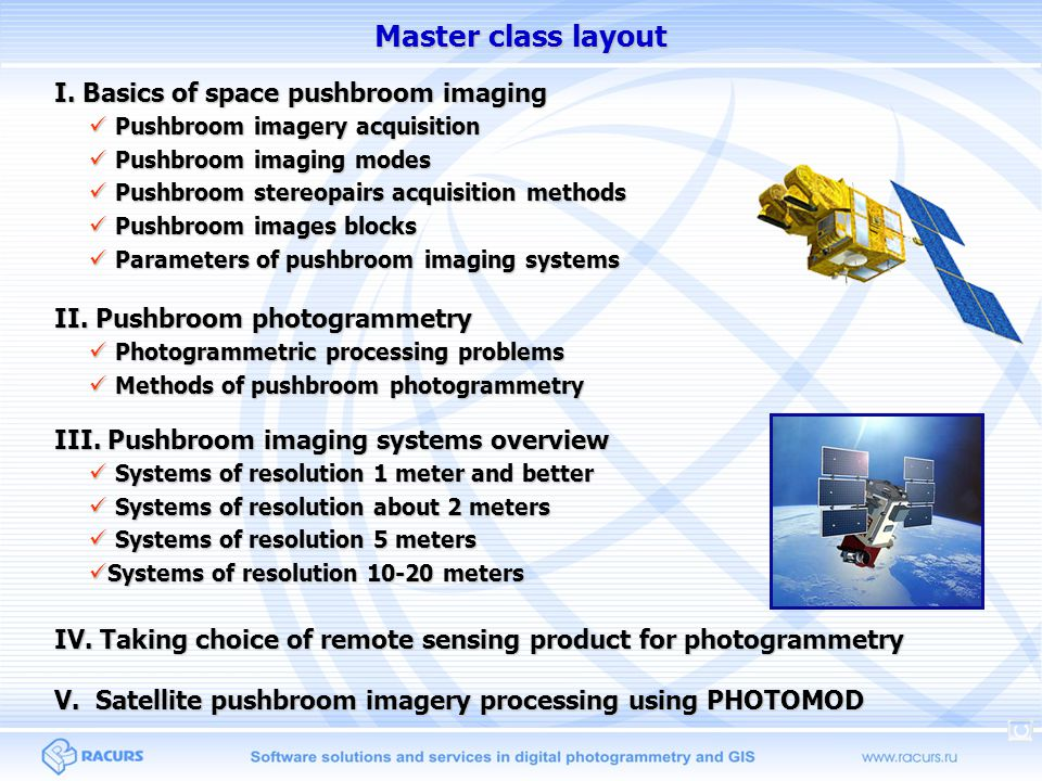 Master class layout I. Basics of space pushbroom imaging