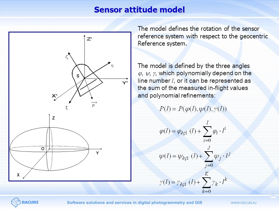 Sensor attitude model The model defines the rotation of the sensor