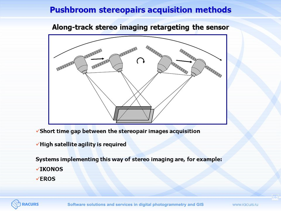 Pushbroom stereopairs acquisition methods