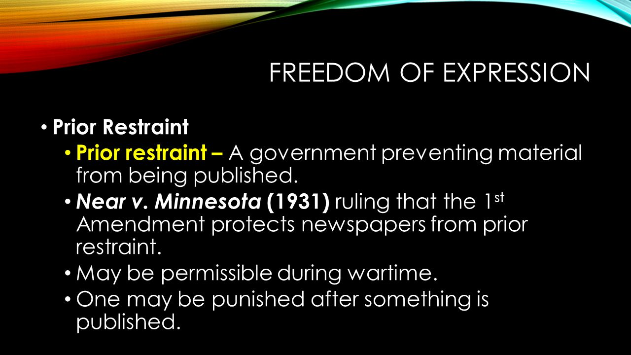 Freedom of Expression Prior Restraint
