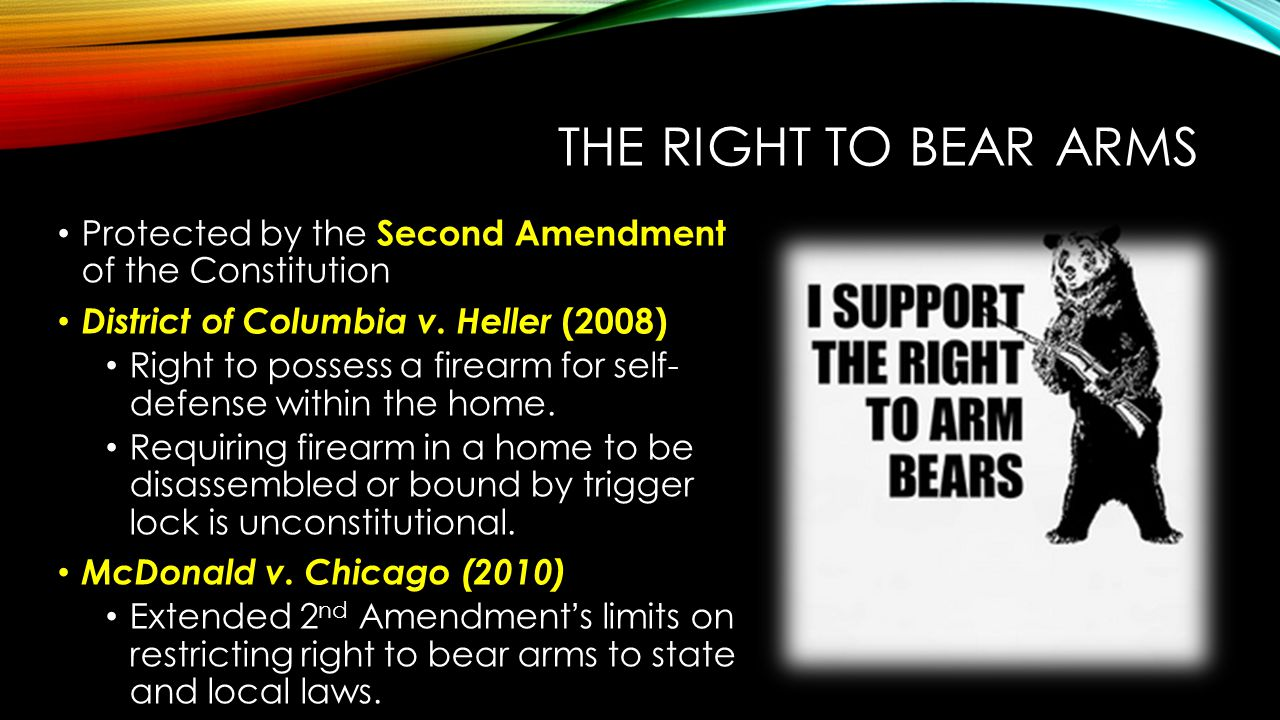 The Right to Bear Arms Protected by the Second Amendment of the Constitution. District of Columbia v. Heller (2008)