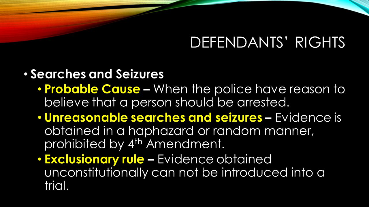 Defendants' Rights Searches and Seizures