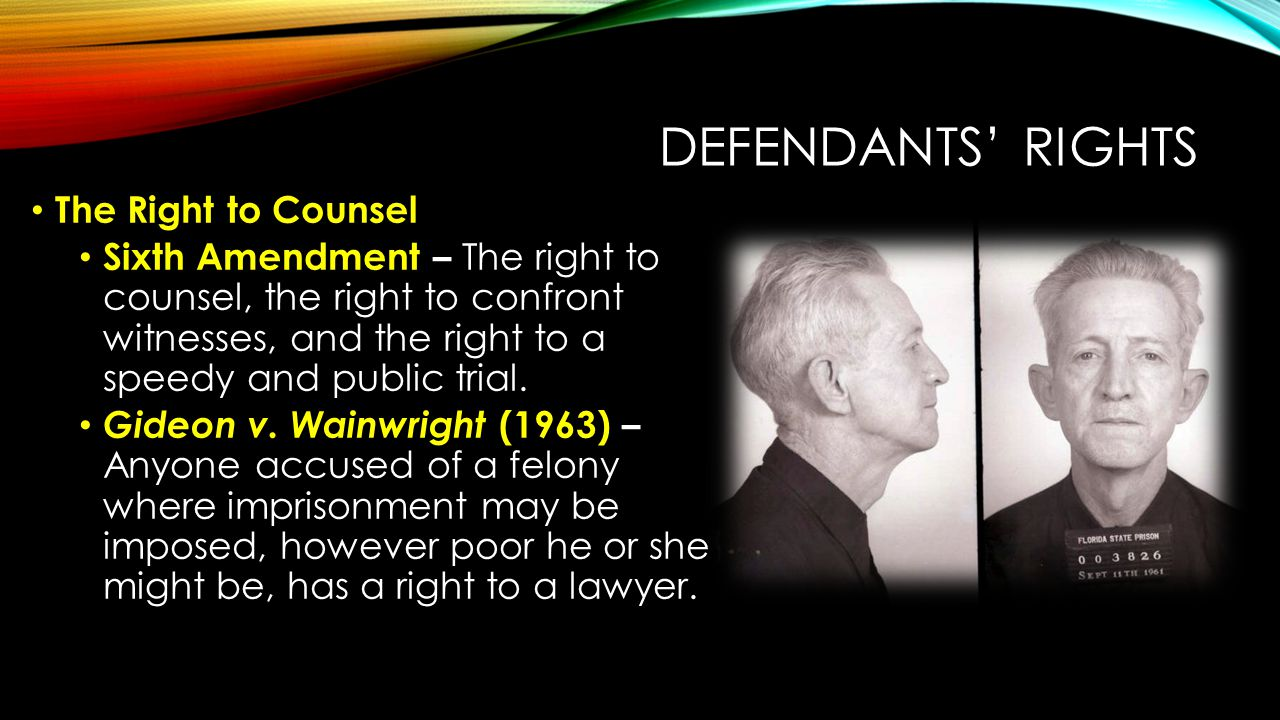 Defendants' Rights The Right to Counsel