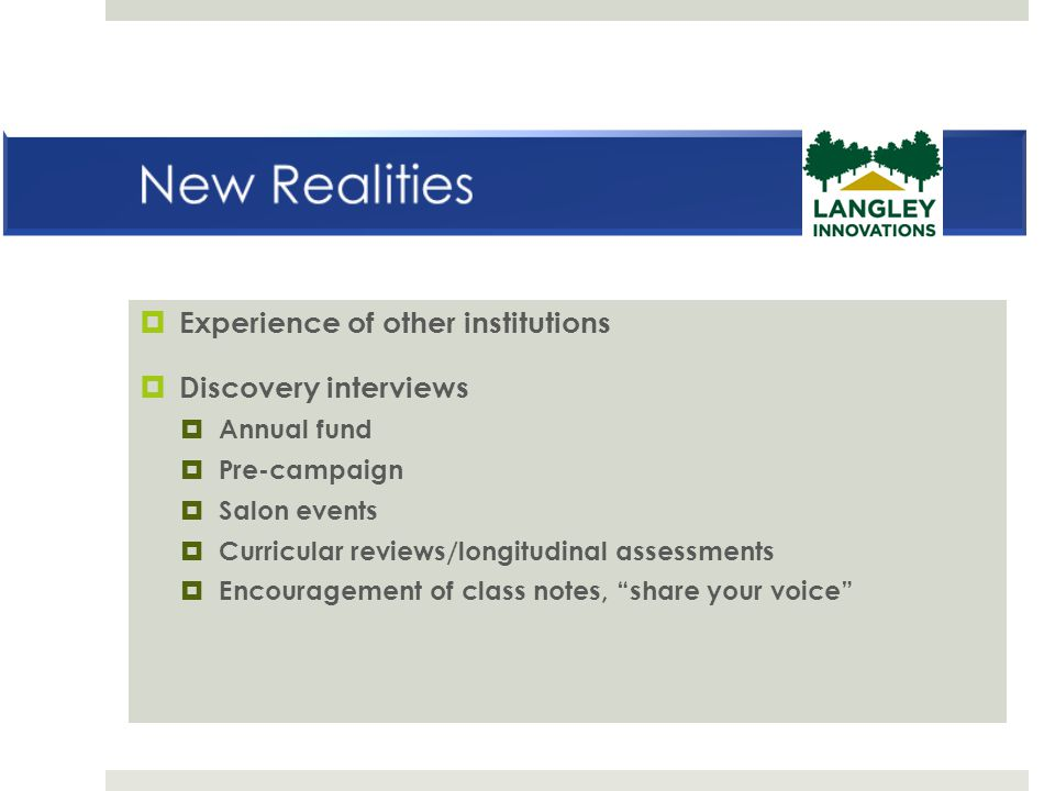 New Realities Experience of other institutions Discovery interviews