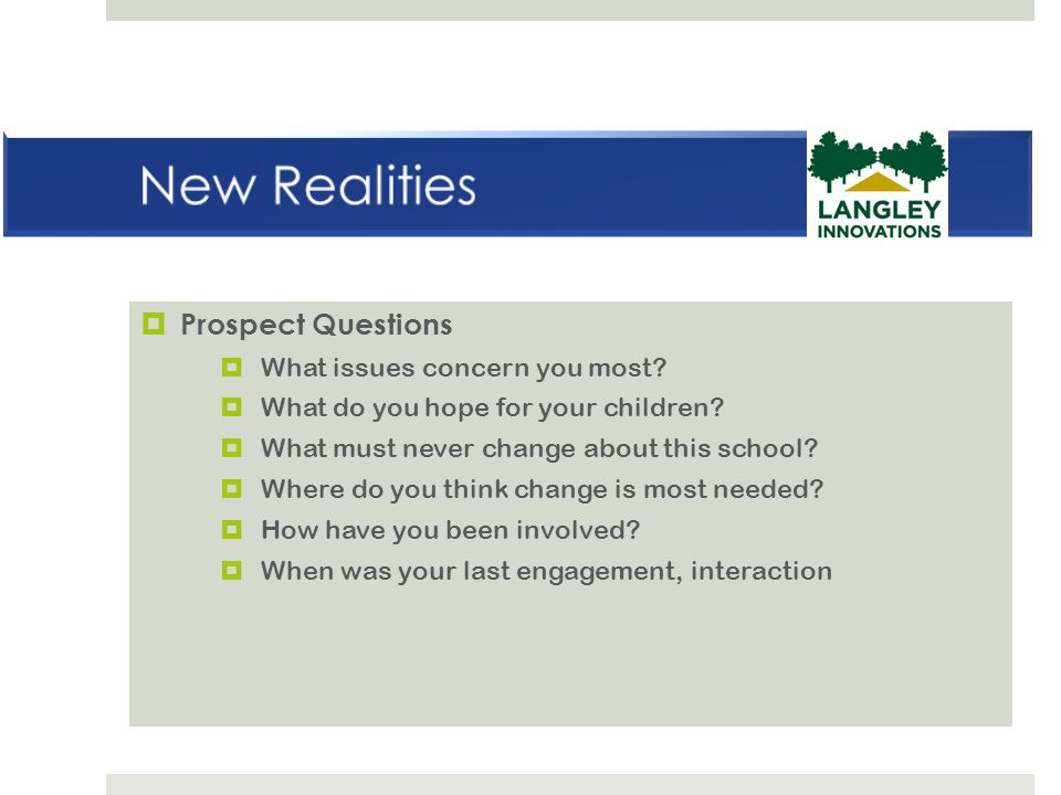 New Realities Prospect Questions What issues concern you most
