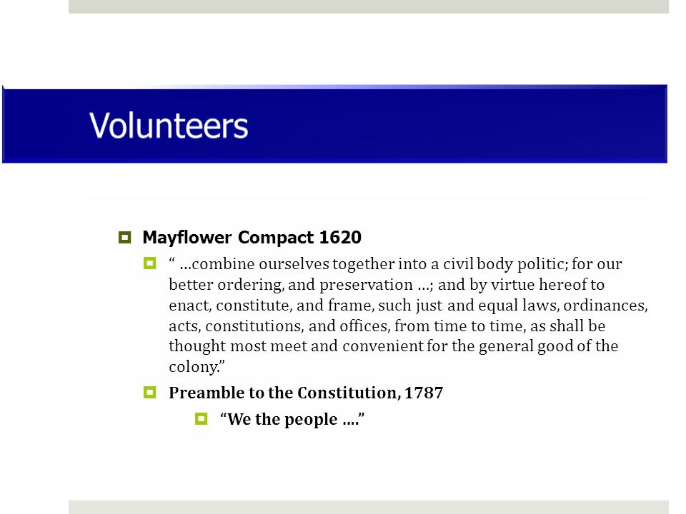 Volunteers Mayflower Compact 1620
