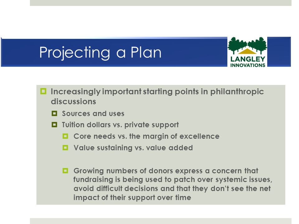 Projecting a Plan Increasingly important starting points in philanthropic discussions. Sources and uses.