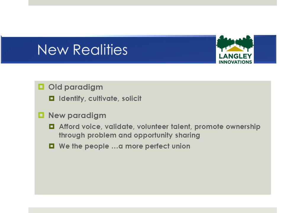New Realities Old paradigm New paradigm Identify, cultivate, solicit
