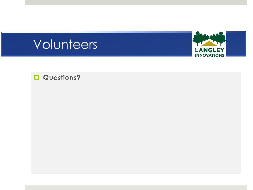 Volunteers Questions