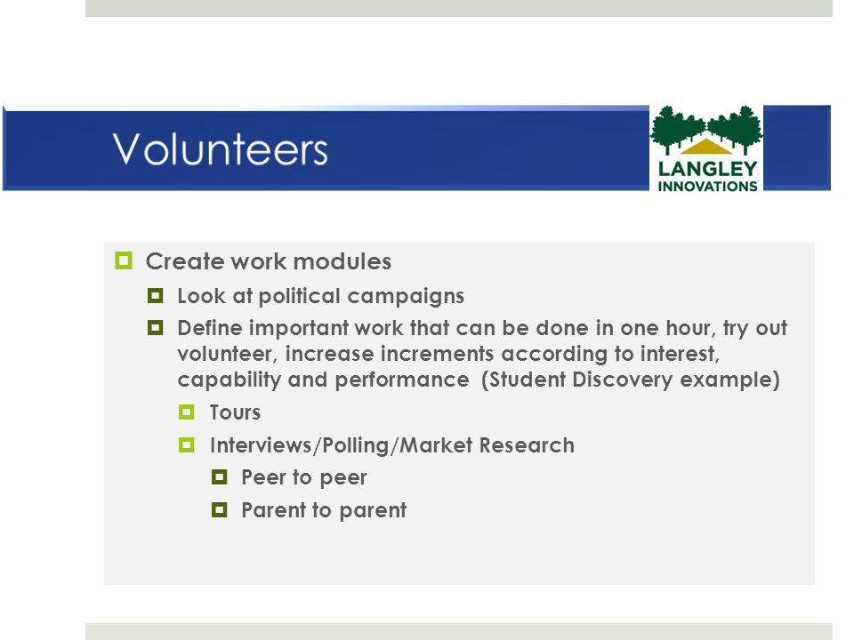 Volunteers Create work modules Look at political campaigns