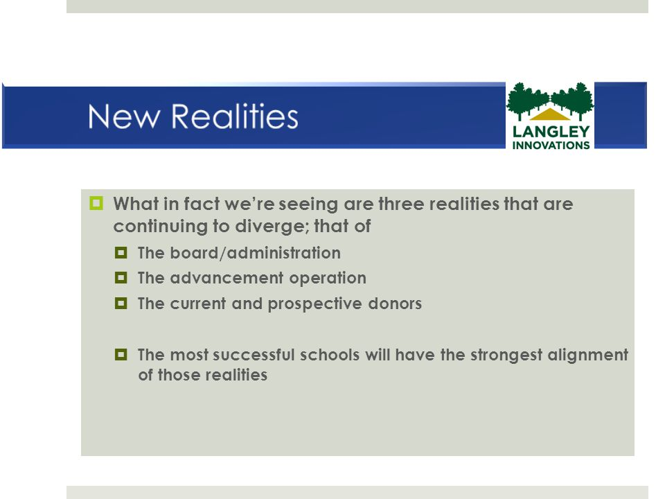 New Realities What in fact we're seeing are three realities that are continuing to diverge; that of.