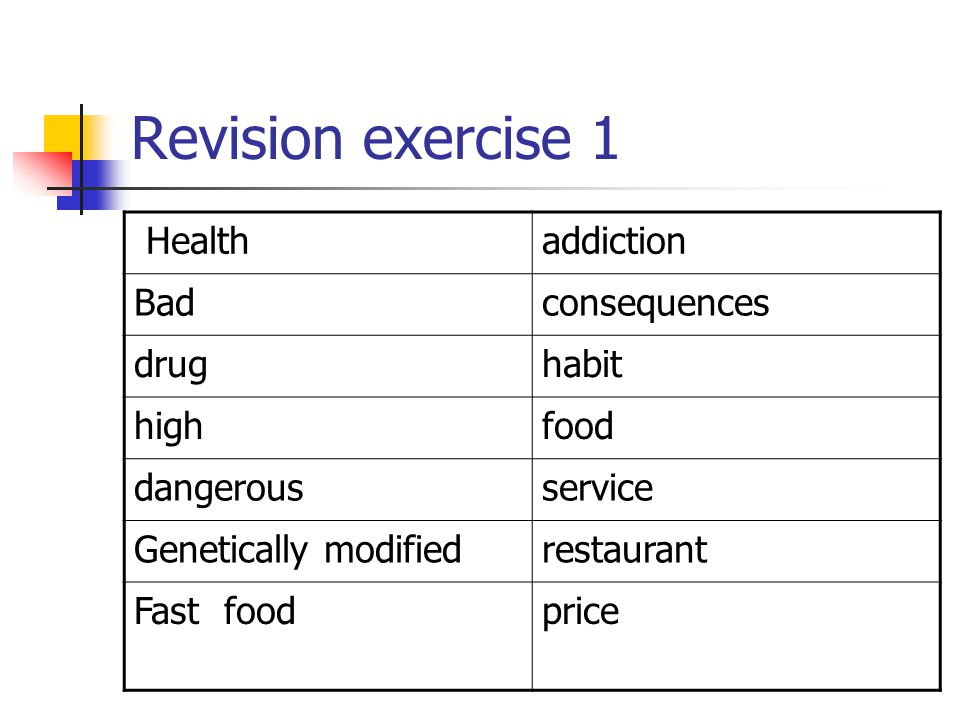 Revision exercise 1 Health addiction Bad consequences drug habit high