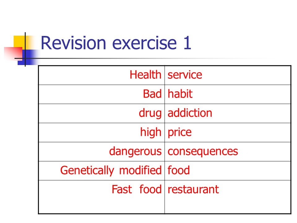 Revision exercise 1 Health service Bad habit drug addiction high price
