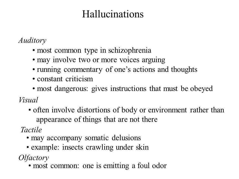 Hallucinations Auditory most common type in schizophrenia