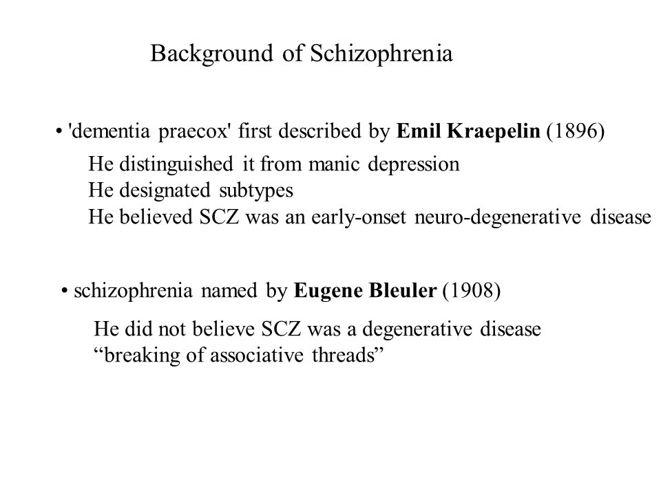 Background of Schizophrenia