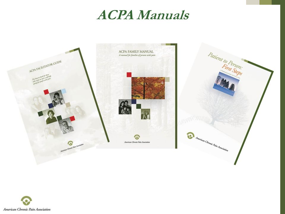 ACPA Manuals Pictures of covers of the ACPA manuals.