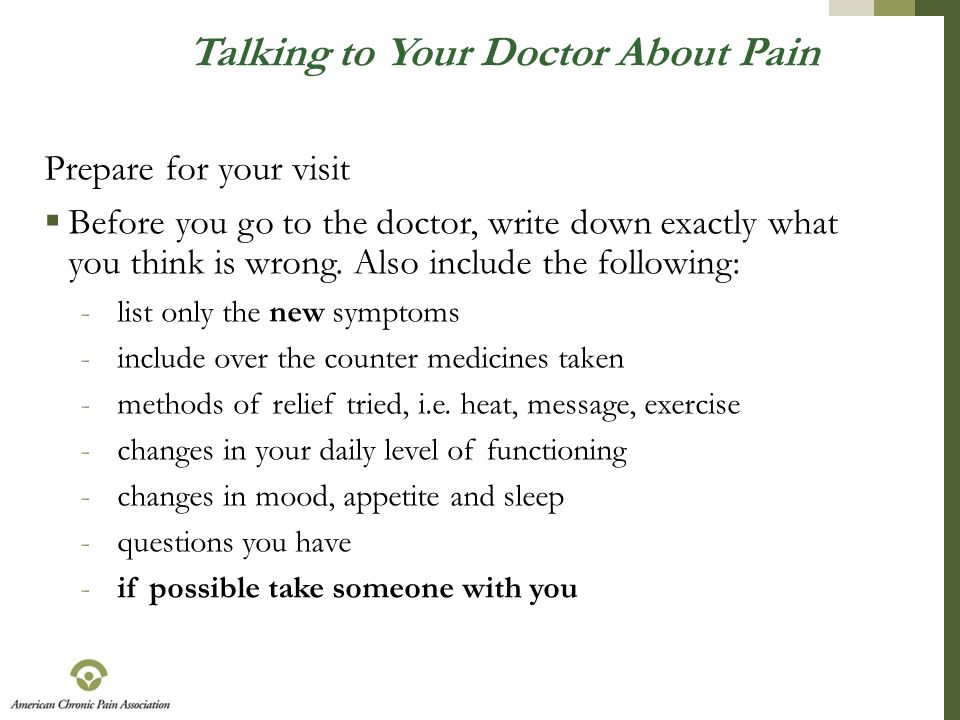 Talking to Your Doctor About Pain