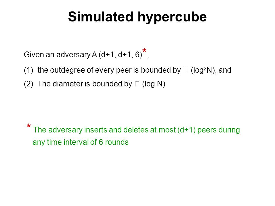 Simulated hypercube Given an adversary A (d+1, d+1, 6)*, the outdegree of every peer is bounded by  (log2N), and.