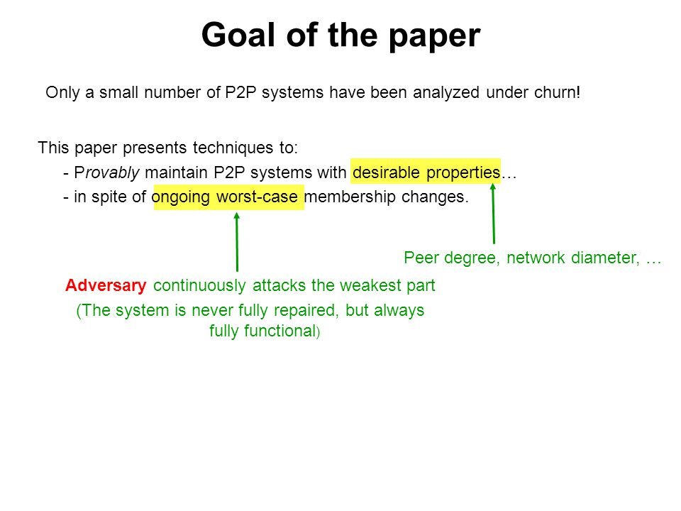 Goal of the paper Only a small number of P2P systems have been analyzed under churn! This paper presents techniques to: