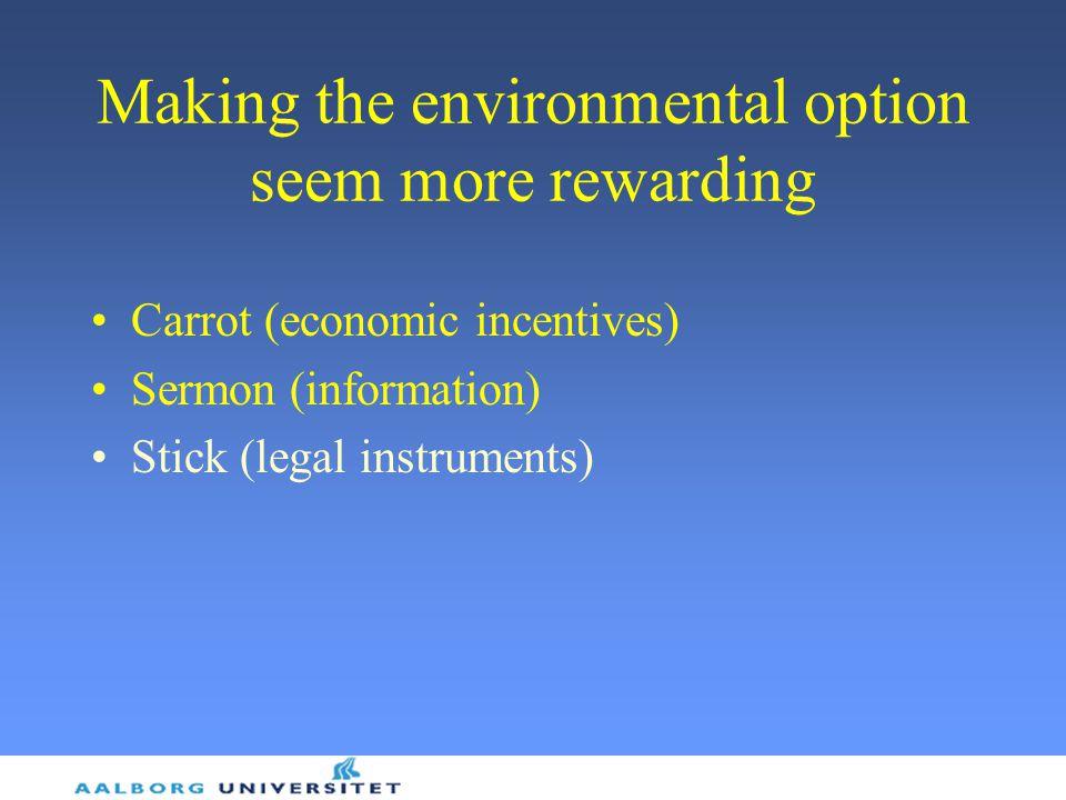Making the environmental option seem more rewarding