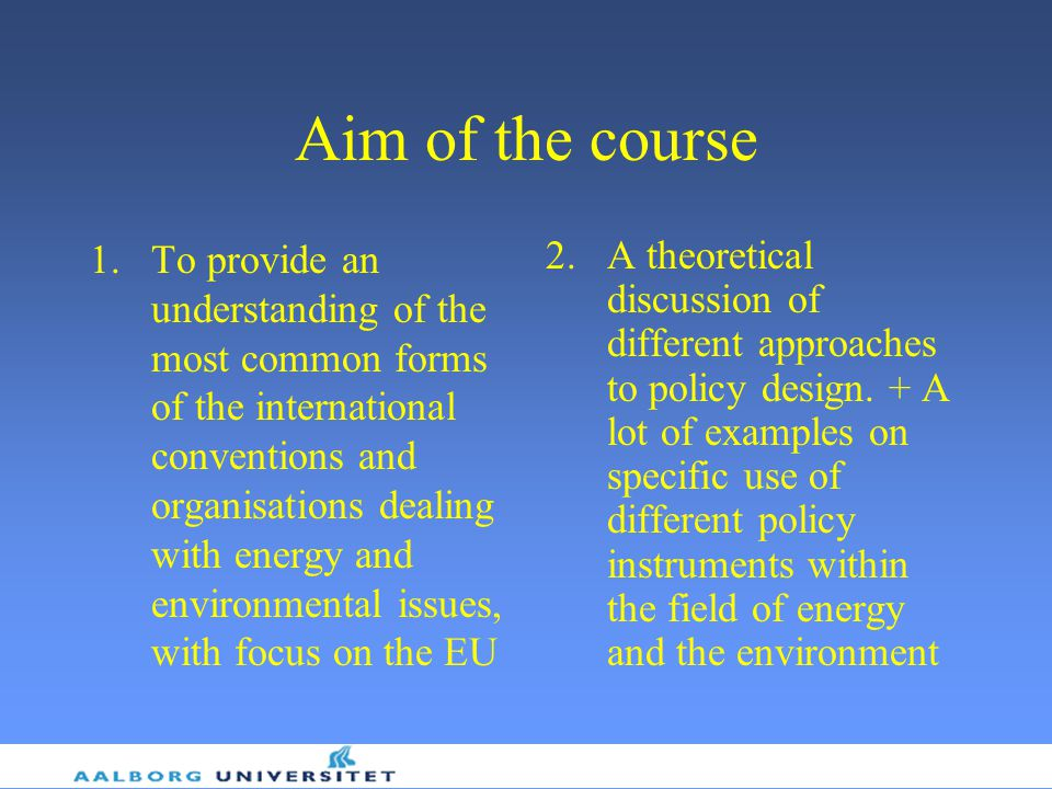 Aim of the course