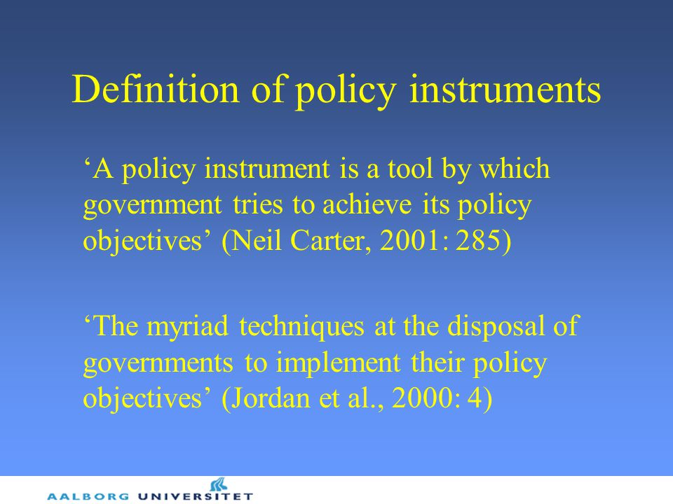 Definition of policy instruments
