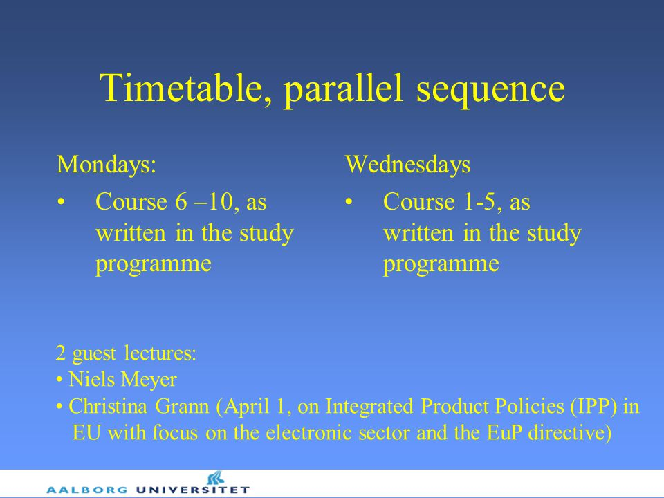 Timetable, parallel sequence