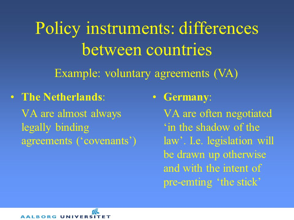 Policy instruments: differences between countries