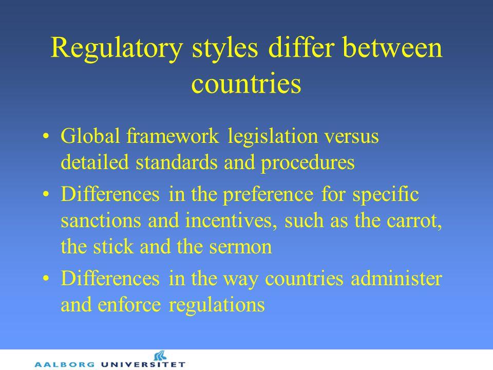 Regulatory styles differ between countries