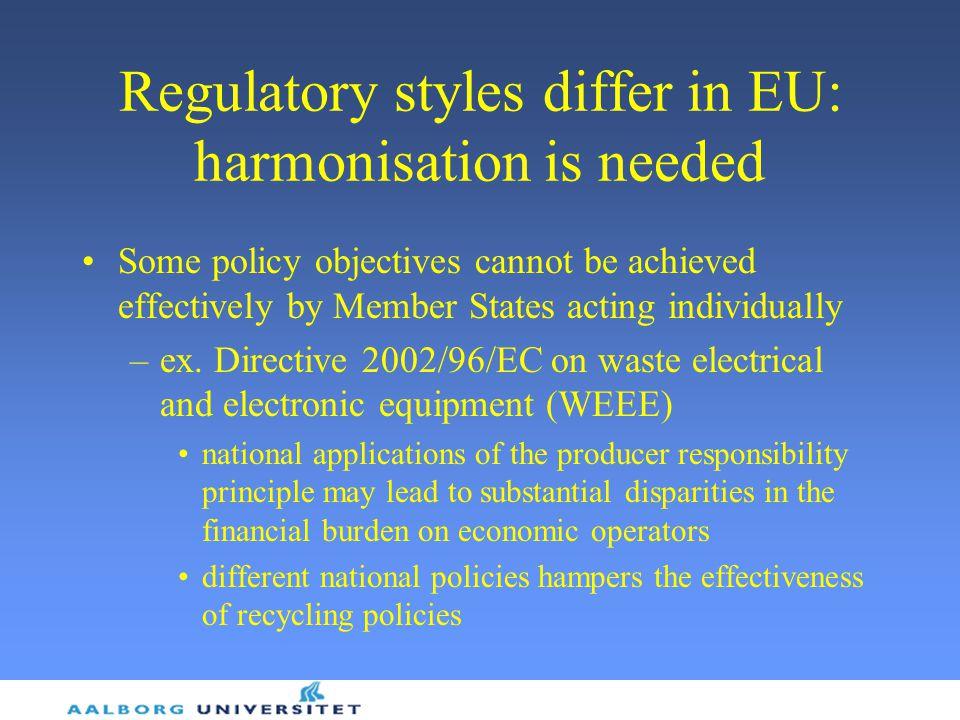 Regulatory styles differ in EU: harmonisation is needed