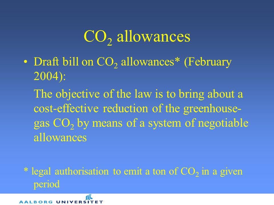 CO2 allowances Draft bill on CO2 allowances* (February 2004):