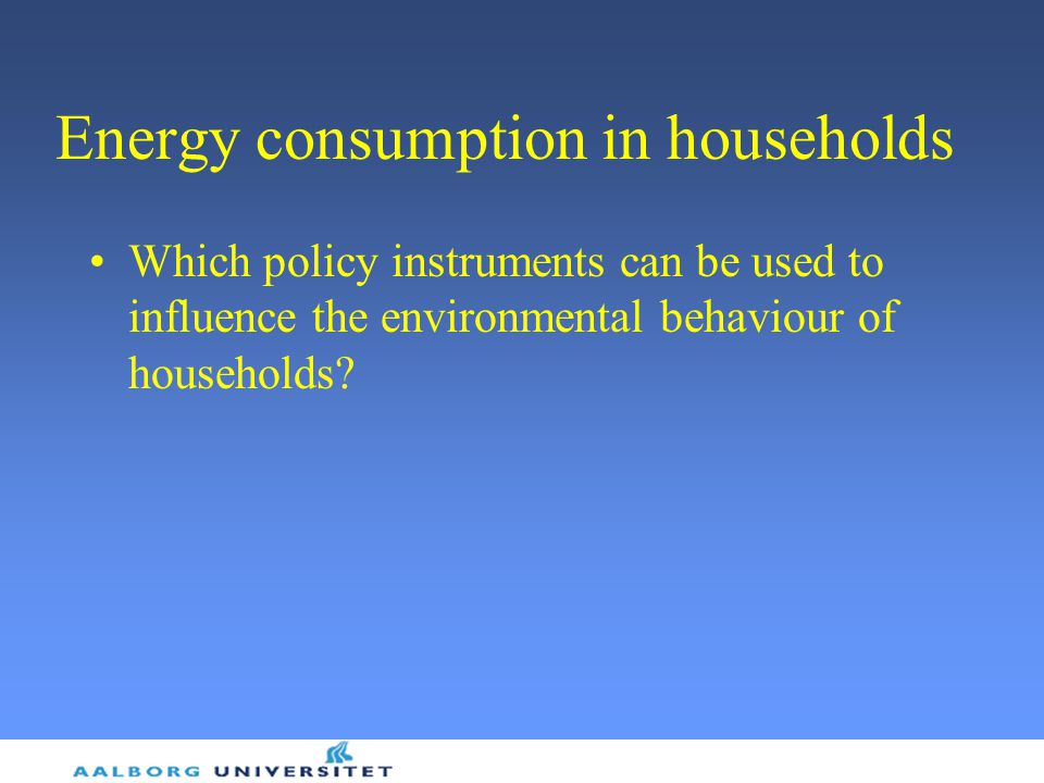 Energy consumption in households