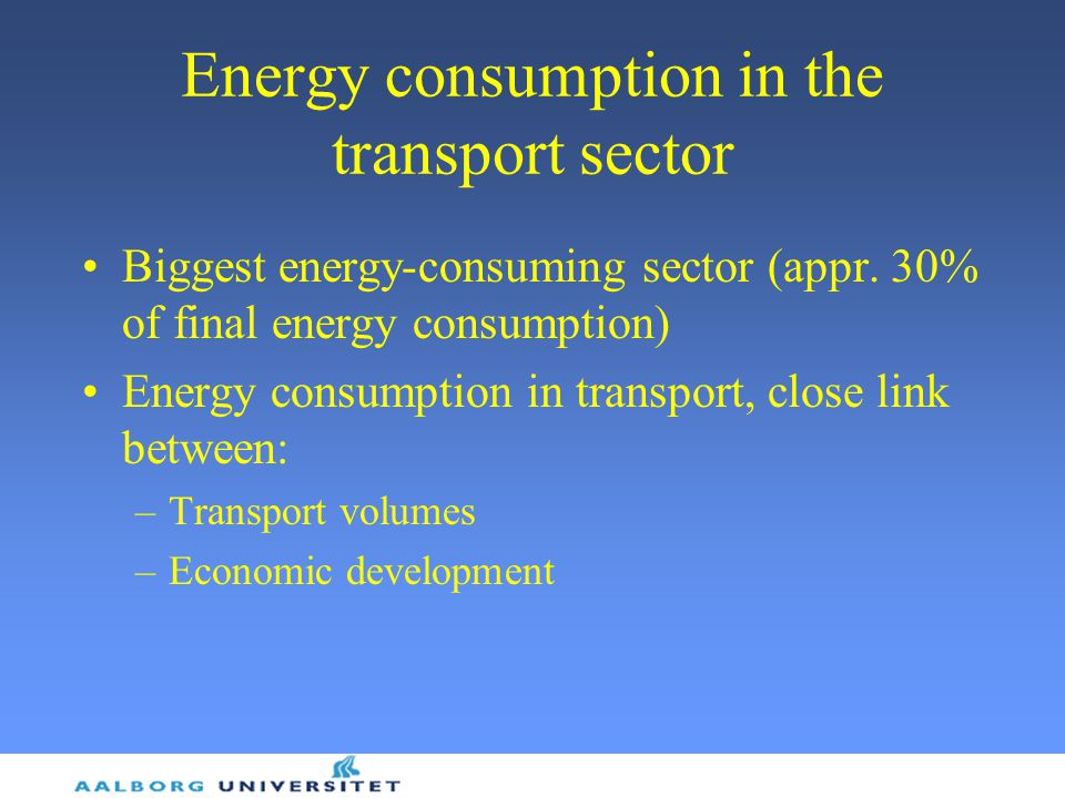 Energy consumption in the transport sector