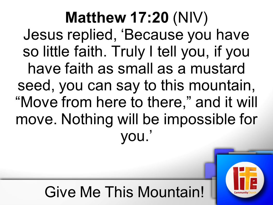 Matthew 17:20 (NIV) Jesus replied, 'Because you have so little faith