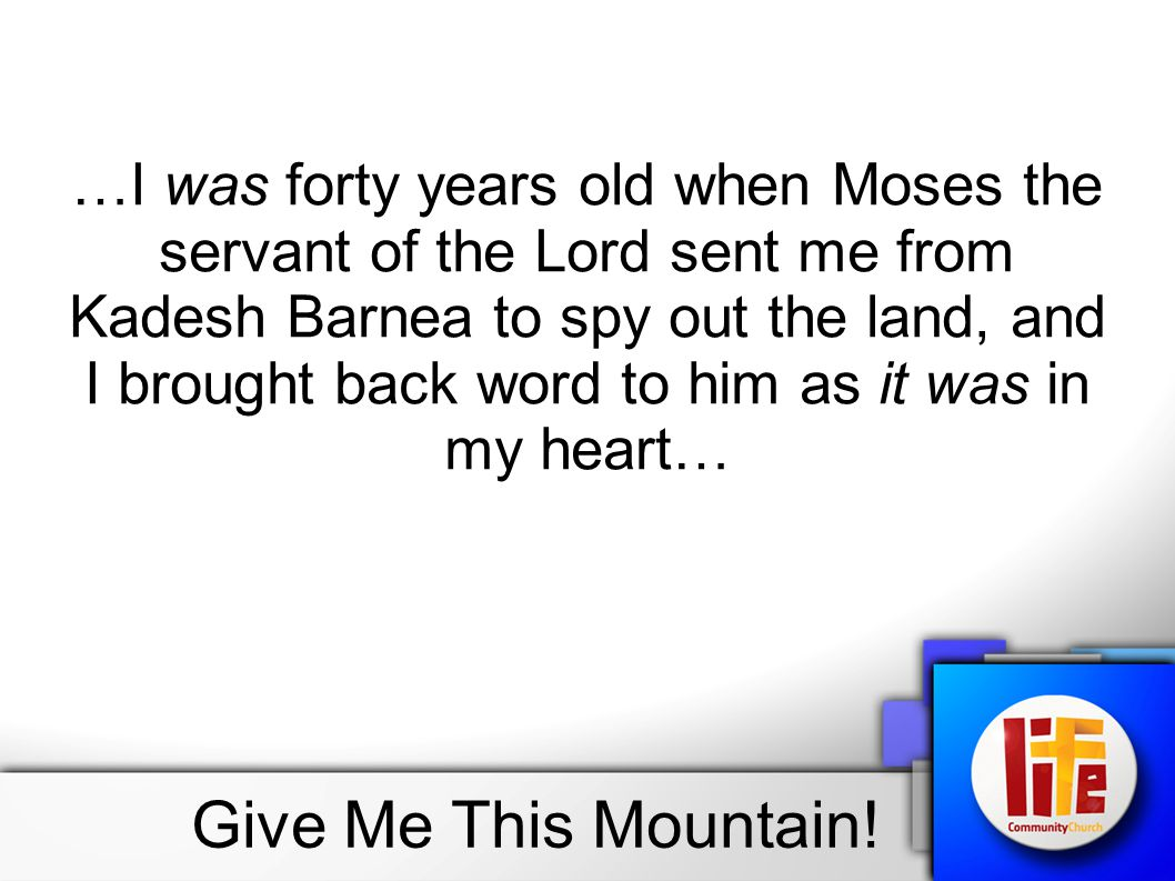 …I was forty years old when Moses the servant of the Lord sent me from Kadesh Barnea to spy out the land, and I brought back word to him as it was in my heart…