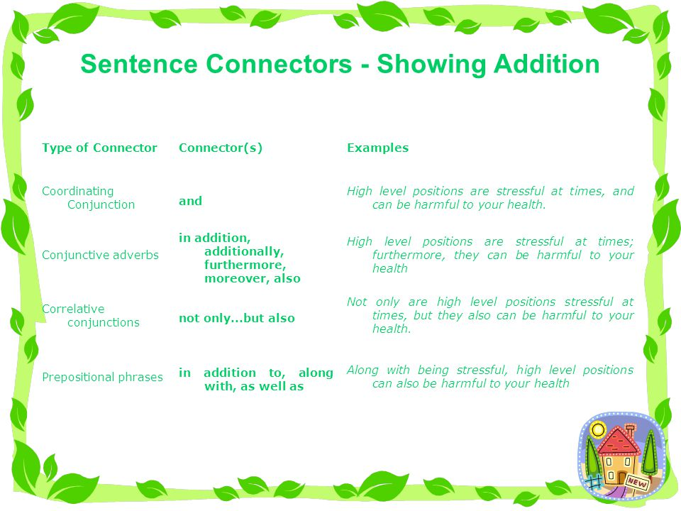 Sentence Connectors - Showing Addition