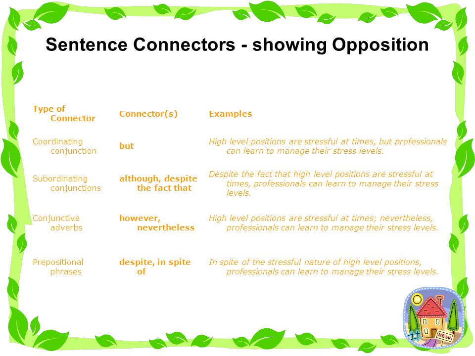 Sentence Connectors - showing Opposition