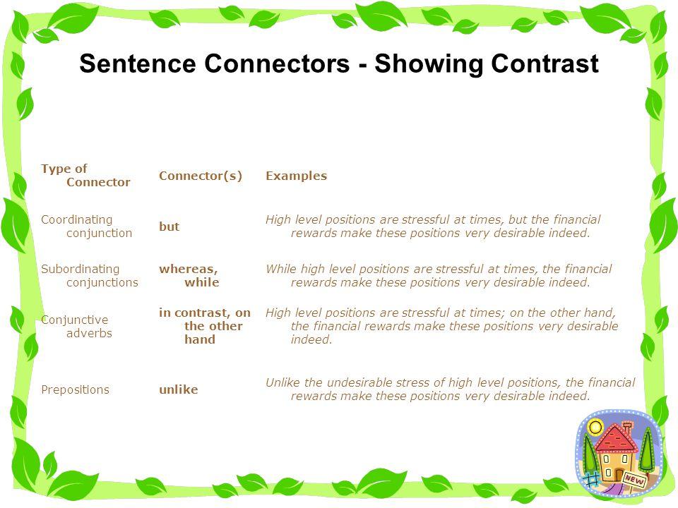 Sentence Connectors - Showing Contrast