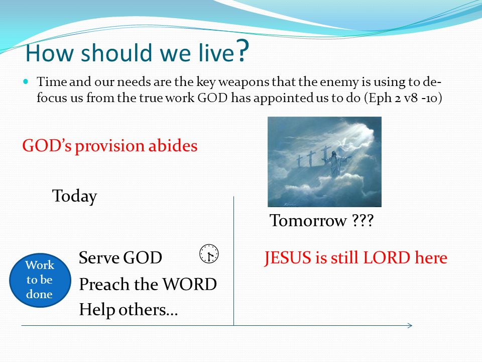 How should we live GOD's provision abides Today Tomorrow