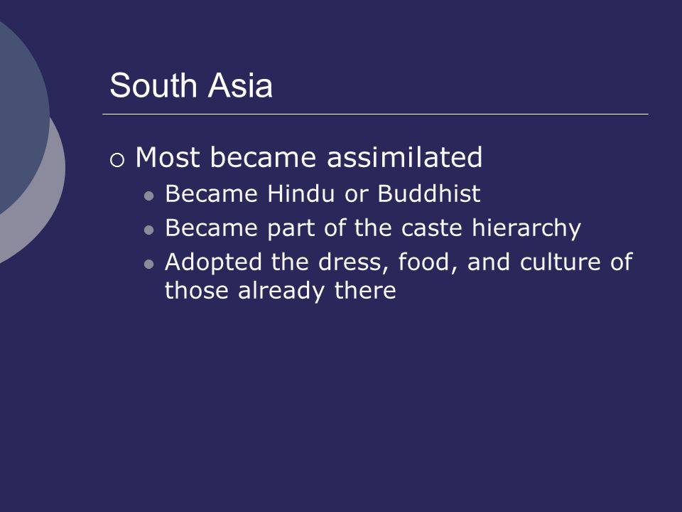 South Asia Most became assimilated Became Hindu or Buddhist