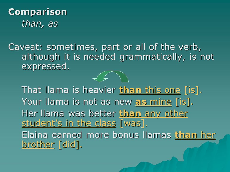 Comparison than, as. Caveat: sometimes, part or all of the verb, although it is needed grammatically, is not expressed.