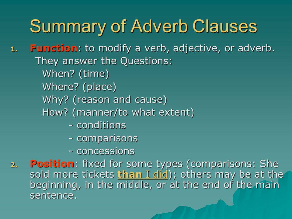 Summary of Adverb Clauses