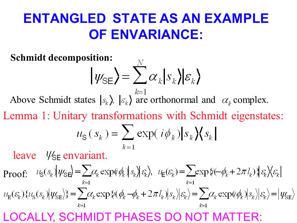 ENTANGLED STATE AS AN EXAMPLE OF ENVARIANCE: