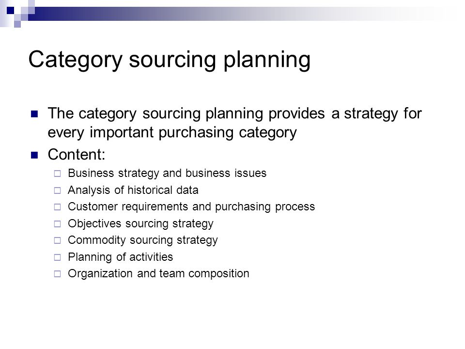Category sourcing planning