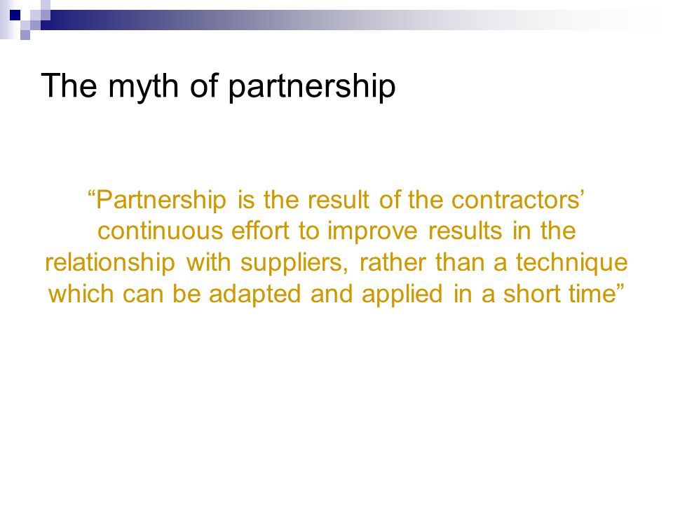 The myth of partnership