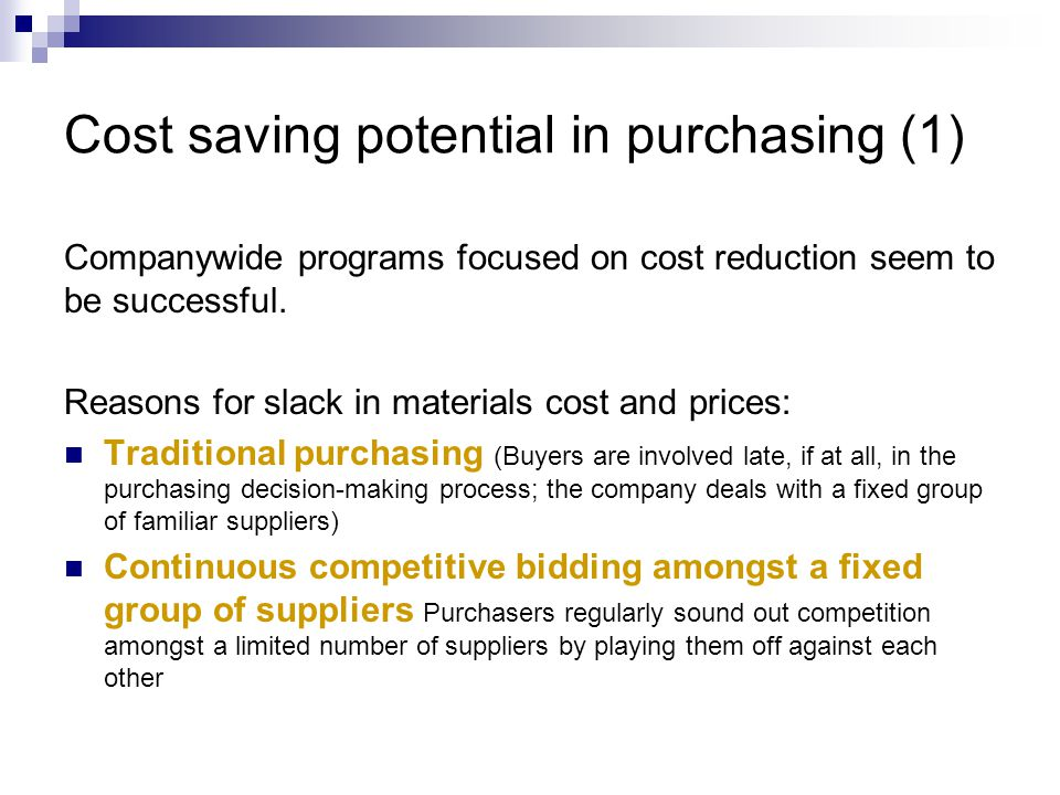 Cost saving potential in purchasing (1)